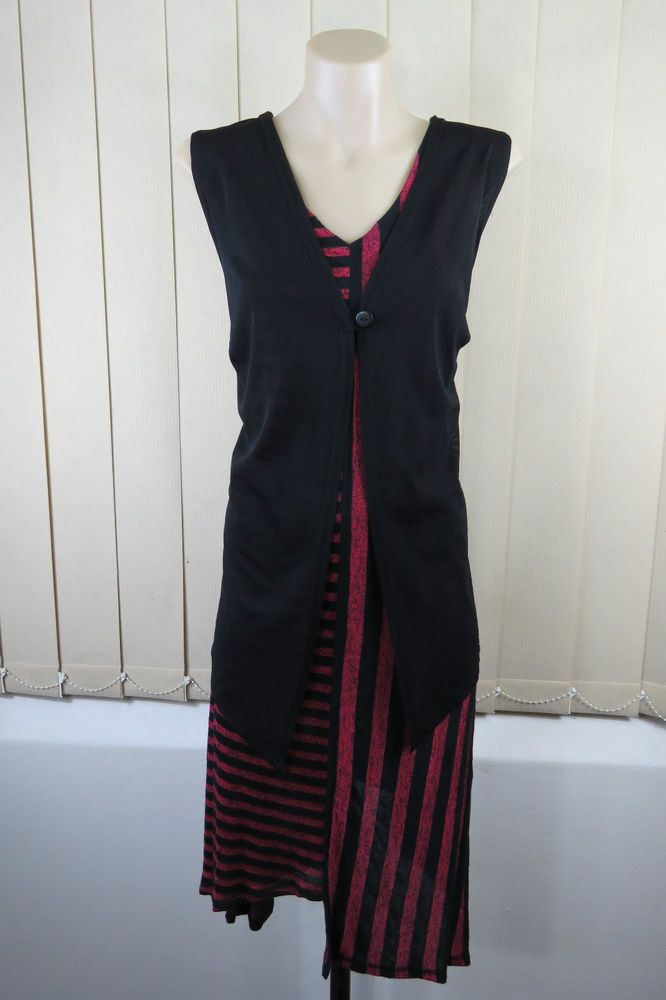 Plus Size 14 TS Taking Shape Ladies Black Red Tunic Dress Top Sleeveless Vest Layer Office Boho Chic Edgy Stripe Stretch Corporate Layer Business Smarty Design