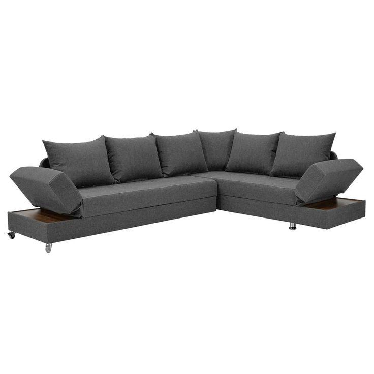 Γωνιακός καναπές - κρεβάτι  Roma με ύφασμα γκρι 249x185x82