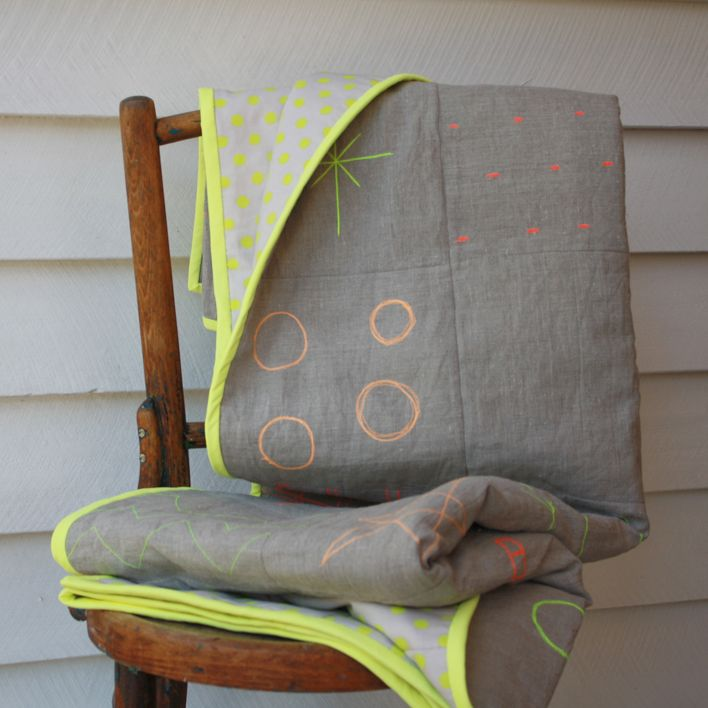 Neon stitched linen quilt | Maker and Merchant
