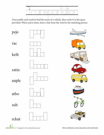 unscramble words transportation unscramble words worksheets and writing skills. Black Bedroom Furniture Sets. Home Design Ideas