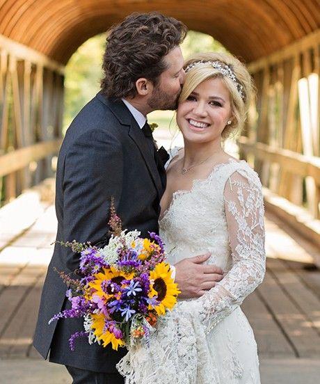Kelly Clarkson Married Brandon Blackstock - Weddings   Kelly Clarkson married Brandon Blackstock wearing a Temperley dress. #refinery29 http://www.refinery29.com/2013/10/55806/kelly-clarkson-married