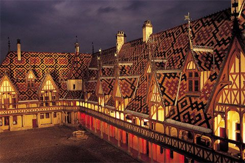 L'Hotel Dieu in Beaune, France. Providing hospice care for those who need it from 1452 to today. (This particular building is a museum now but the care lives on in more modern buildings.)