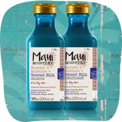 Maui Moisture Nourish  Moisture + Kokosnuss-Milch  Shampoo ist geeignet für trockenes Haar. Kokosnuss-Milch, Guaven-Öl und Mango-Butter entwirren und pflegen das Haar. Shampoo und Conditioner versorgen das Haar mit Feuchtigkeit und sorgen für einen strahlenden Glanz. vegan, ohne Silikone, ohne Parabene und ohne sulfathaltige Tenside  Erhätlich ab Mitte August bei dm Shampoo / Conditioner: 385 ml kosten 8,95€