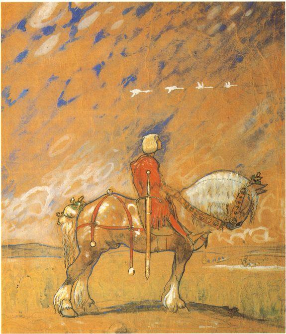 John Bauer, study  for Ut i vida värlen (Into the wild world) 1907