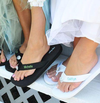 personalized flippy floppys for bridal party