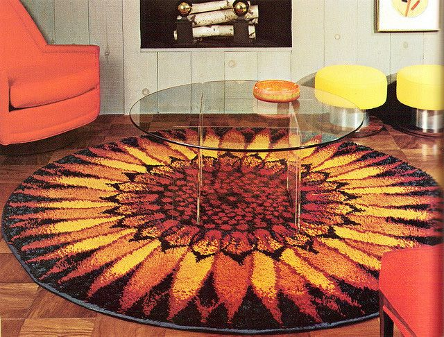 70s Sunflower Rug And Glass Coffee Table, Practical Encylopedia Of Good Decorating  And Home Improvement