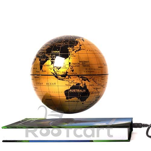 Anti Gravity Globe Book. Based on magnetic field, with inductive system. Levitating floating and rotating globe. The globe is kept in levitation by means of self-adjusting control system. Available at #roofcart