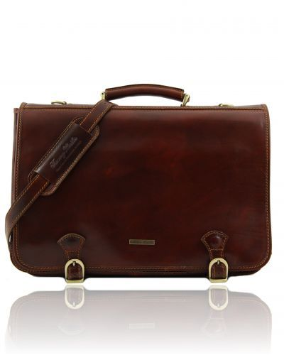 ANCONA TL10025 Leather messenger bag large size - Cartella in pelle misura grande