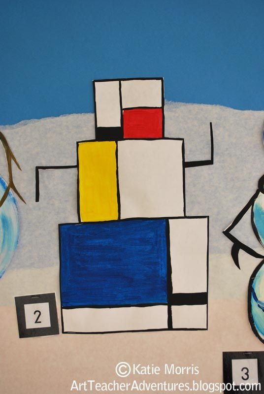 How fun would it be to do a winter art show that is all snowmen with a different artist for inspiration.... Adventures of an Art Teacher: Art History Mondrian snow man