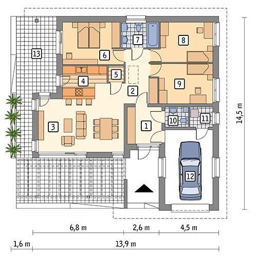 Rzut parteru POW. 119,1 m²