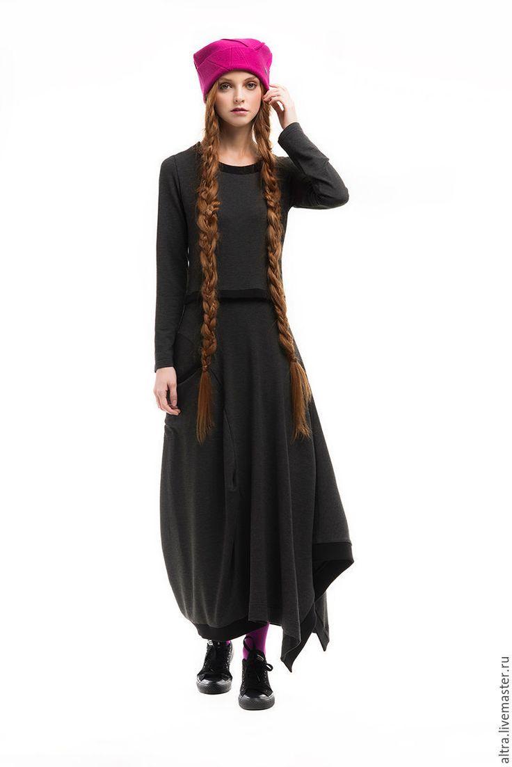 Купить Платье в стиле бохо - темно-серый, однотонный, платье, платье трикотажное