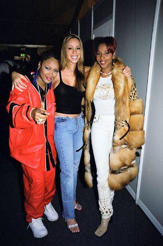"90shiphopraprnb: ""Da Brat, Mariah Carey & Mary J. Blige """