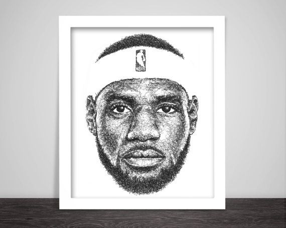 Scribbled LeBron James  Poster by ScribbleZone on Etsy