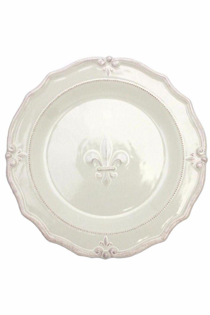 """Raised design Ceranima Home is a product development company that designs and manufactures product lines and collections for casual entertaining everyday, year round and special occasions.    Measures: 14"""" x 1.5"""" D   Fleur De Lis Platter by Ceranima. Home & Gifts - Home Decor - Dining - Dinnerware Alabama"""