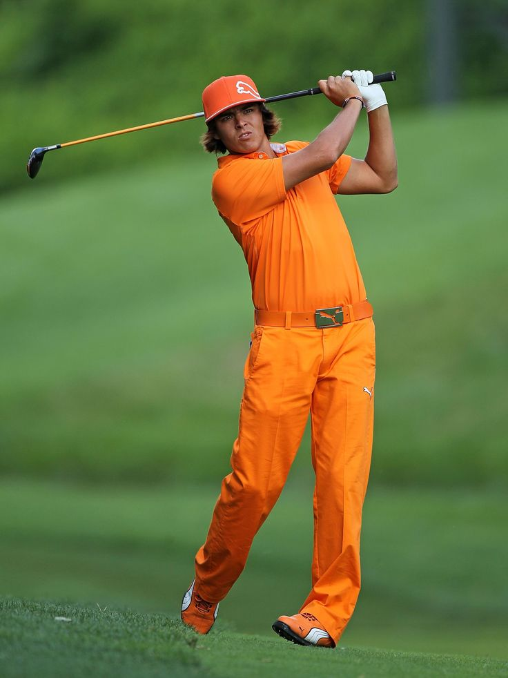 """Rickie Fowler """"Sunday is always Orange""""  You never know when your going to get run over by a golf cart, so wear orange, so they can see you!"""
