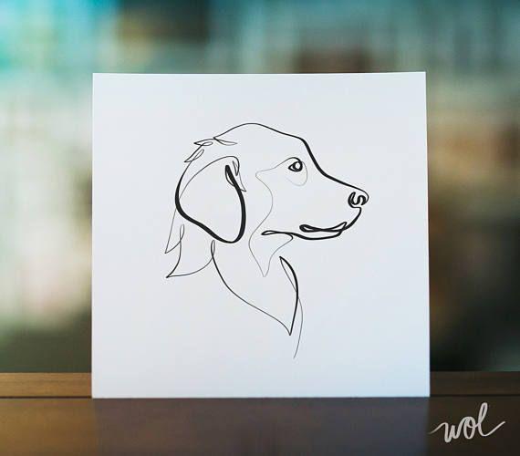Golden Retriever Print Original One Line Art Minimal Dog Golden