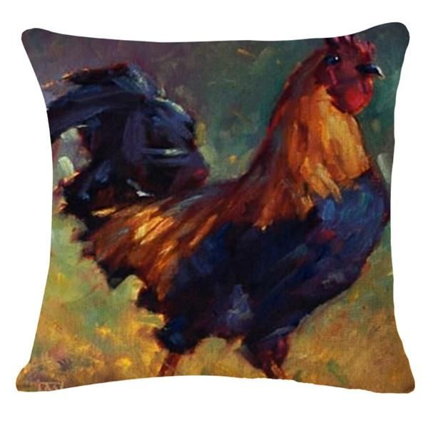 Colorful Oil Painting Rooster Cushion Pillow Covers