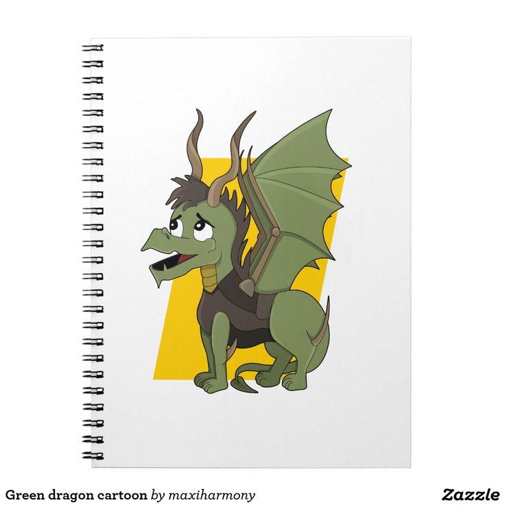 Green dragon cartoon spiral notebooks