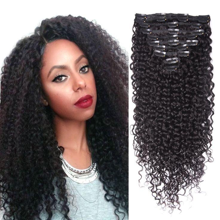 Siga-me Clipe Crespo crespo Em Extensões Do Cabelo Cabelo Virgem Grampo No Cabelo Humano Africano Americano Kinky Curly Clipe Ins extensões