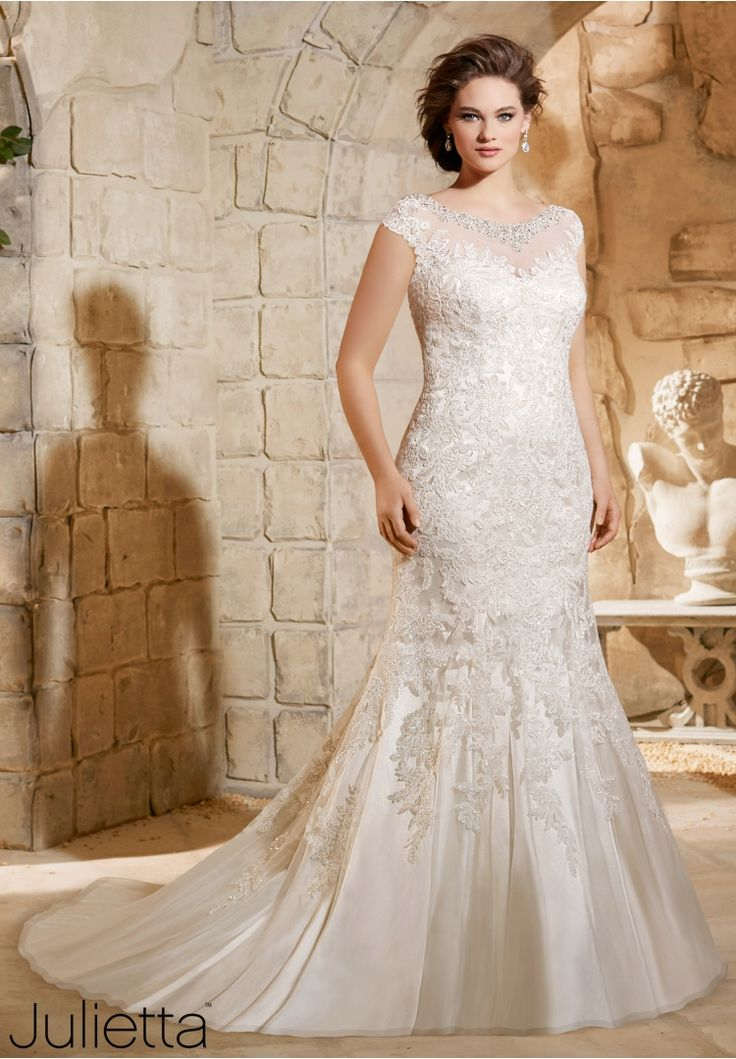 Plus Size Wedding Dress 3188 Crystal Beaded Embroidery with Sparkling Lace Appliques on Soft Net
