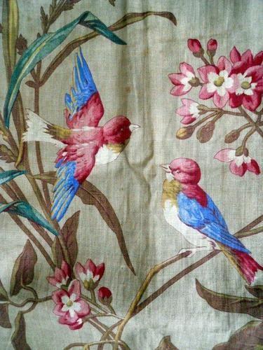 ANTIQUE FRENCH FABRIC LINEN FLOWERS NATURALIST BIRD INDIENNE