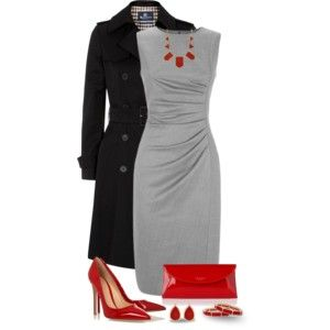 red and grey business outfit Perfect for a romantic Valentine's dinner