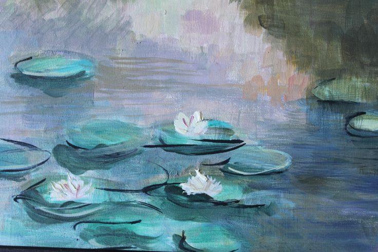 Ninfee olio su tela, ispirata da Monet Waterlilies oil on canvas