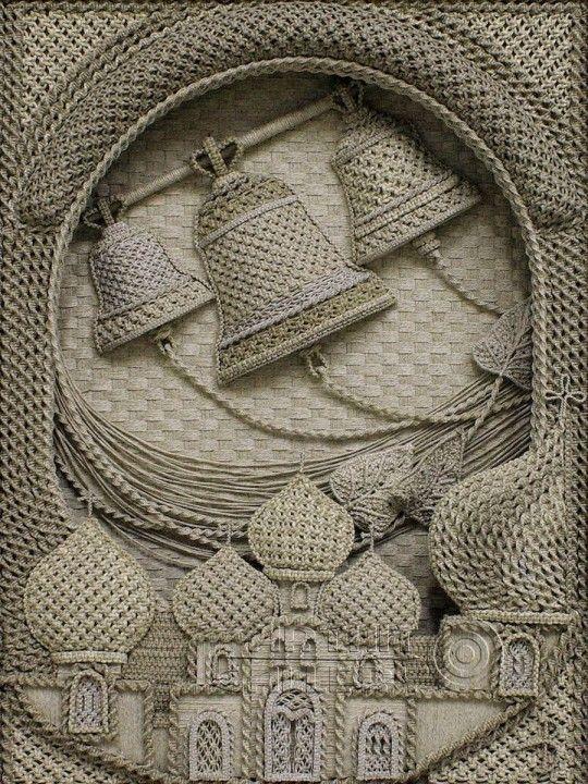 flax macramé by Vladimir Denshchikov (Православные иконы из льна от Владимира Денщикова)