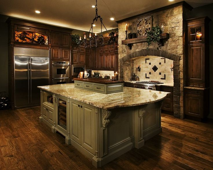 Dark cabinets light island cabinets old world tuscan for Dark kitchen cabinets light island