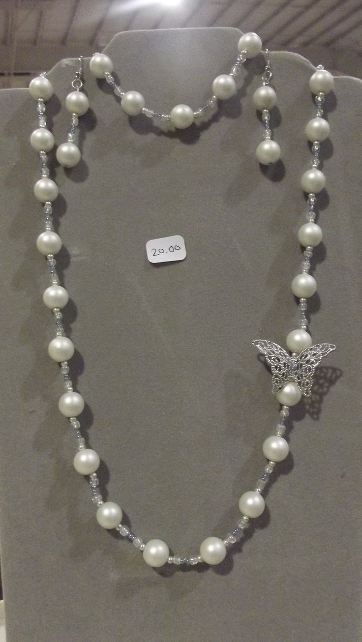 White Pearl with Blue Accent Butterfly Necklace, Bracelet and Earrings-$20
