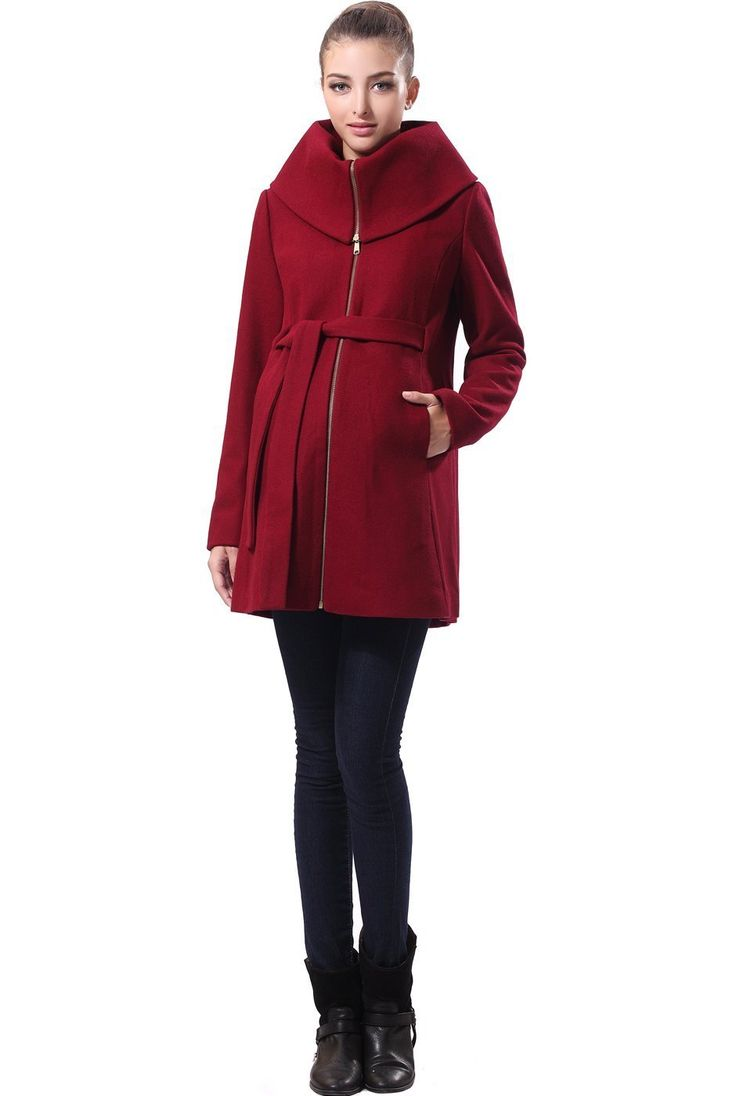 Momo Maternity Women's Ava' Wool Blend Fold Collar Zip Up Coat at Amazon Women's Clothing store: Fashion Maternity Outerwear