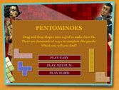 Online Pentominoes Game and printable pentominoes to go with Blue Balliett's Chasing Vermeer