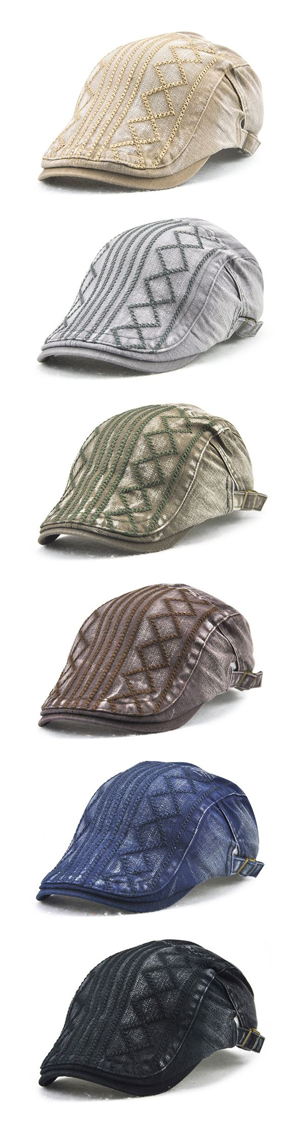US$9.79  (47% OFF) Vintage Soft Sunshade Cotton Beret Cap / Outdoor Travel Leisure Stripe Embroidery Hat For Men