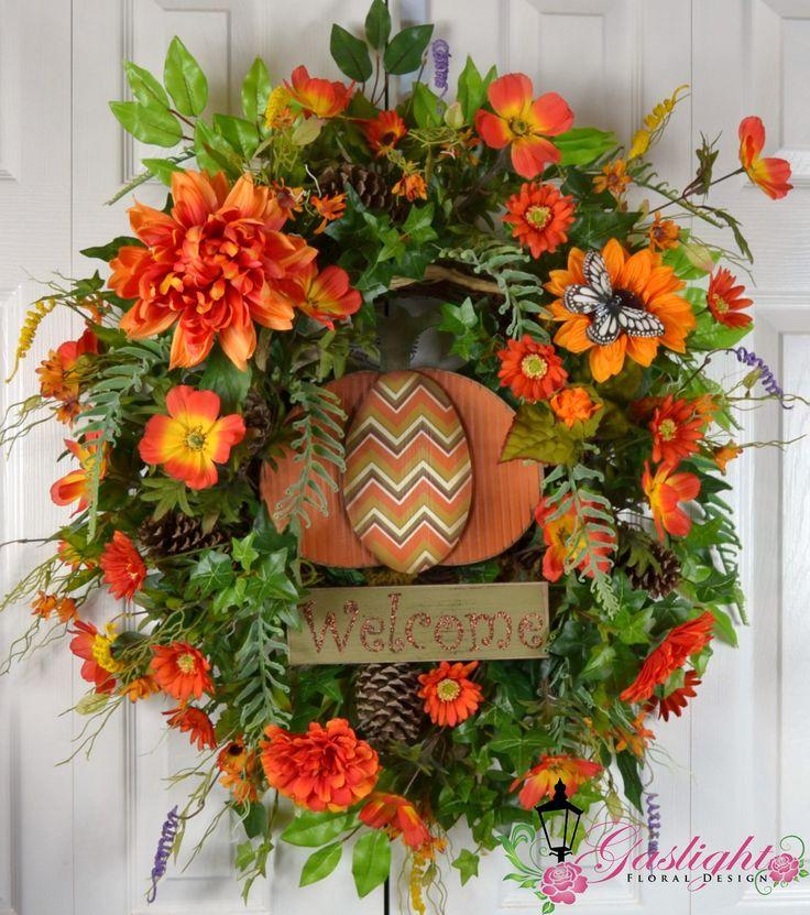 Fall Autumn Dahlia Pumpkin Wreath by Gaslight Floral Design. http://GaslightFloralDesign.com
