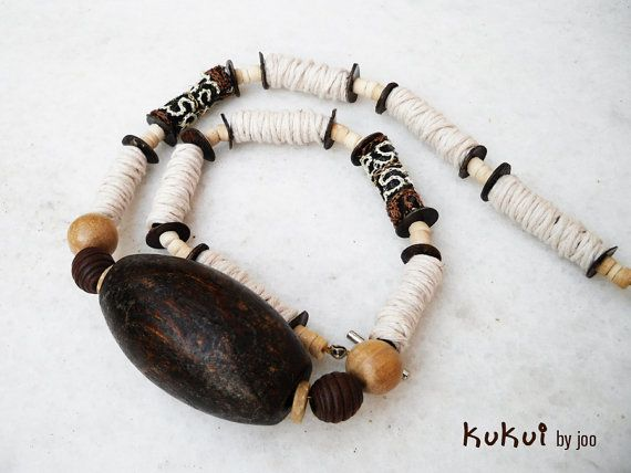 Kukui ooak handrolled fiber bead tribal necklace by Joogr on Etsy, €28.00