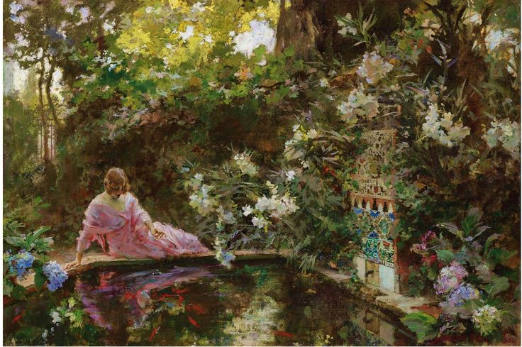 "1920, ""The Pond"" - Francisco Pradilla y Ortiz (1848-1921)"