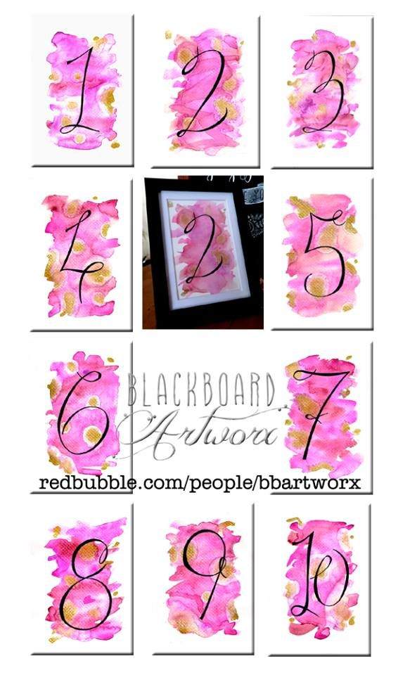 Prints of my hand painted and written wedding table numbers, available at www.redbubble.com/people/bbartworx Have then printed and pop them into a pretty little frame and you're all sorted! #weddingtablenumbers #tablenumbers #tabledecor #tabledecoartions #typography