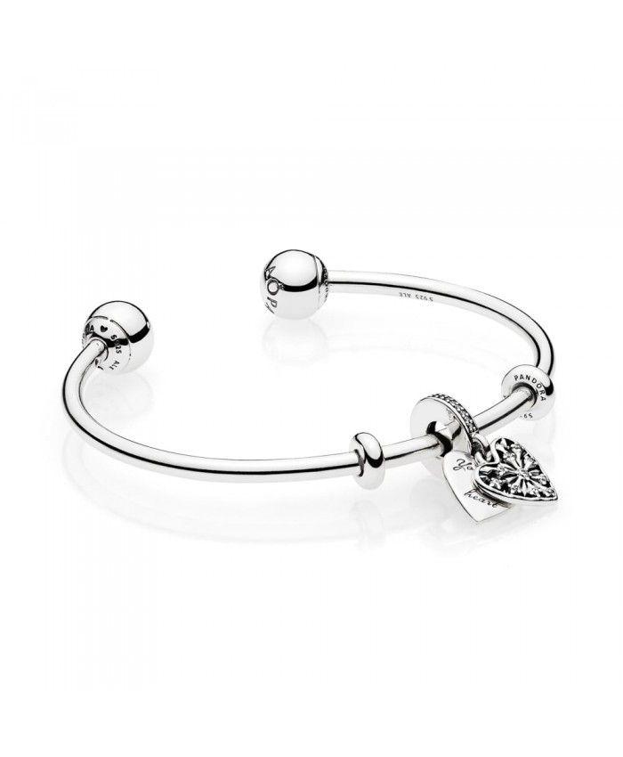 230ece7142c Pandora Ice Crystal Heart Open Bangle Sale Outlet | pandora ...