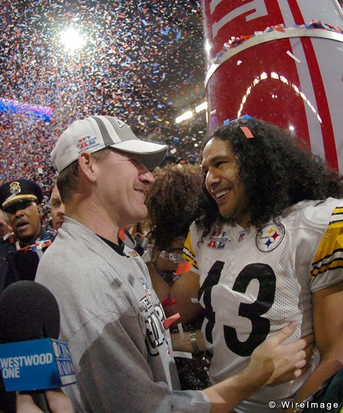 Coach Cowher and Troy Polamalu