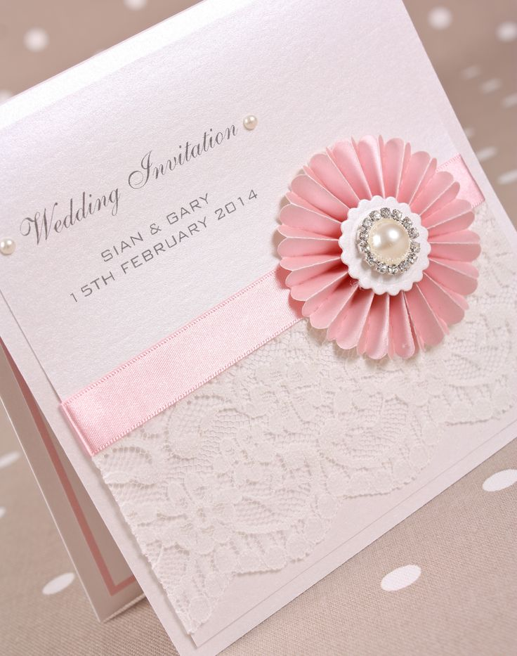 Beautiful Ivory and rose pink boxed Wedding Invitation from our 'Deco' vintage lace and pearl range of wedding stationery and accessories.