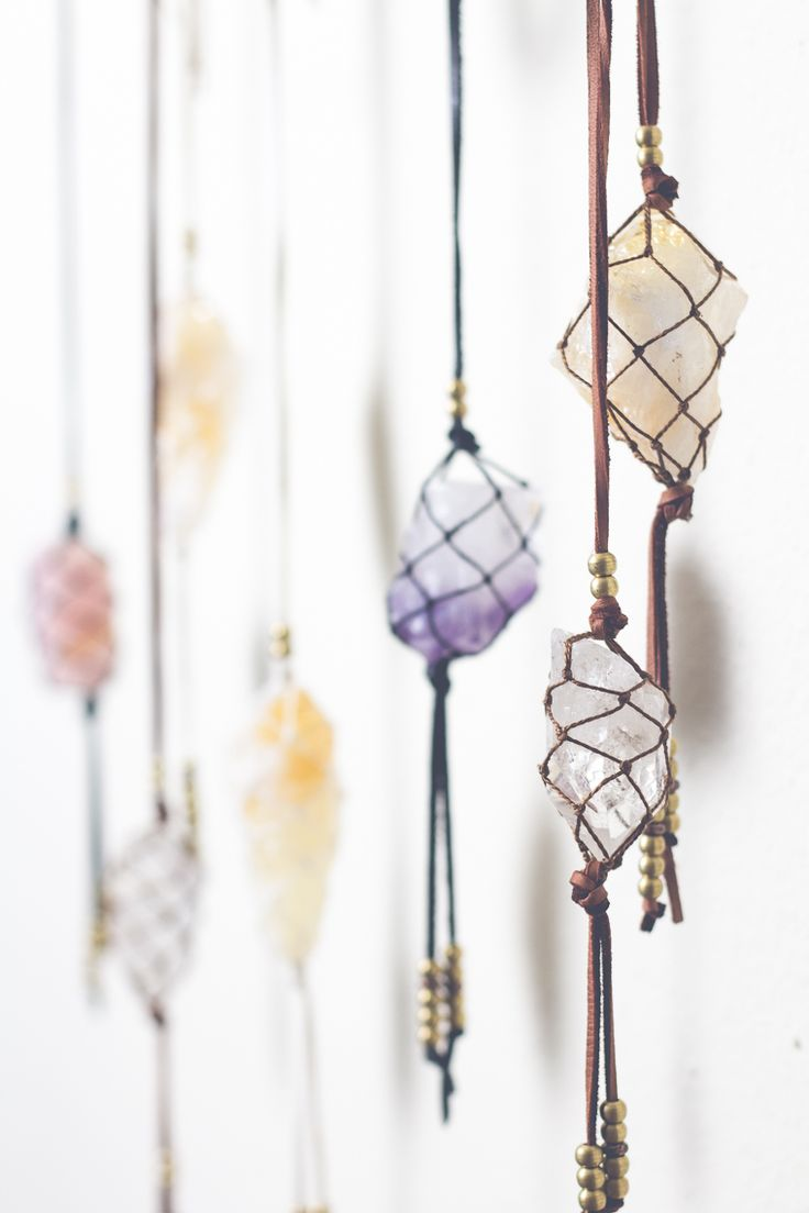 I want to hang beautiful Natural Rock Crystals like this of suede rope or string in a woven web above my altar or in front of the kitchen window to catch the beautiful morning light.