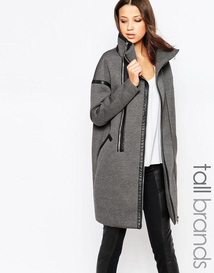 10556 = Пальто-кокон с двойной молнией и воротом-трубой Y.A.S Tall