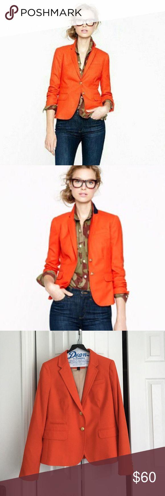J. CREW ORANGE SCHOOLBOY BLAZER  J. Crew orange school boy blazer with gold buttons. Wool flannel material. J. Crew Jackets & Coats Blazers