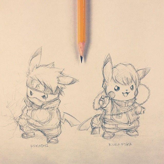 Artist: Itsbirdy | Pokémon | Naruto | Hunter x Hunter | Pikachu | Kakashi Hatake | Kurapika | Pikashi