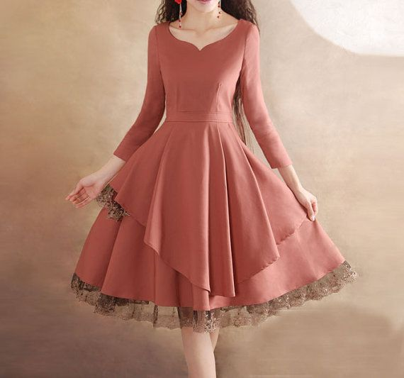 http://www.etsy.com/es/shop/happyfamilyjudy Pink lace dress Linen Cotton dress women dress por happyfamilyjudy, $92.99