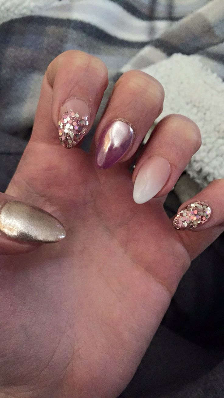 Acrylic nails, chrome, rose gold glitter, ombré French! So in love! Pointy for first time!
