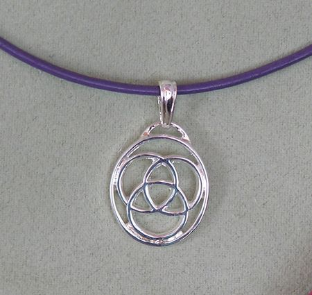 "Family Medallion Silver over Pewter Filigree Pendant with 18"" Leather Chain and Jewelry Pouch. Choose chain color in Black, Violet or now in Pink."