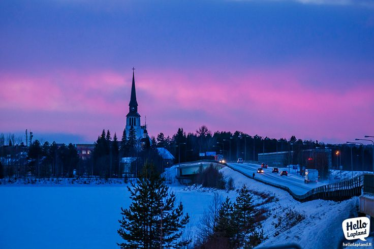 Pink & blue moment in the city of Kemijärvi in Lapland Finland 17.12.2013.