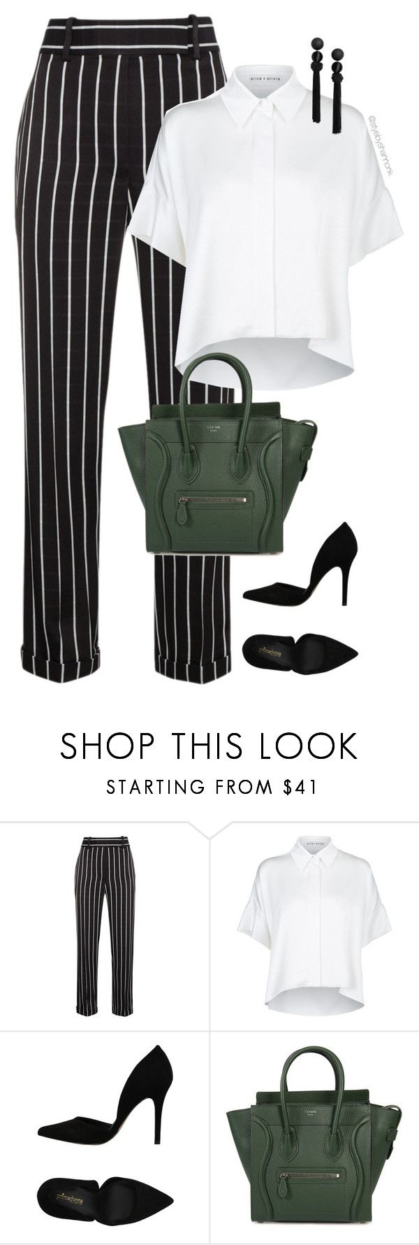 """Stripes"" by stylebyshannonk ❤ liked on Polyvore featuring Haider Ackermann, Alice + Olivia, PrimaDonna and CÉLINE"