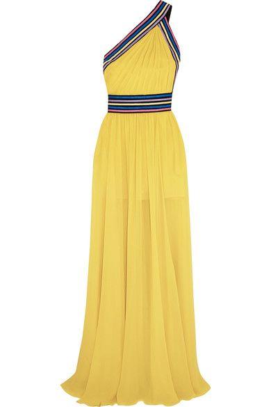 Gelber Seiden-Georgette, mehrfarbiges Ripsband  Verdeckter Haken und Reißverschluss hinten  100 % Seide  Trockenreinigung  Designerfarbe: Mimosa